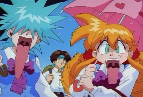 Inma Daitoshi Beast City Sex Demon Metropolis Aine Anne Tatsuo Screaming Reaction Faces Umbrellas School Uniforms