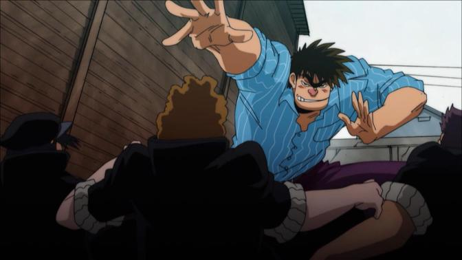 Rowdy Sumo Wrestler Matsutaro Abarenbou Rikishi!! Matsutarou Sakaguchi Blue Dress Shirt Home Town Low Camera