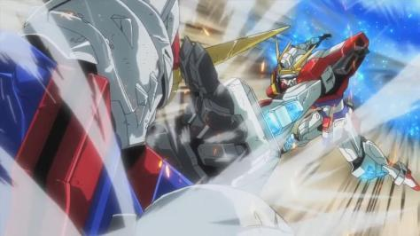 Gundam Build Fighters Try Destiny Gundam Straight Assembly Build Burning Gundam Grab Fight Glowing Jets