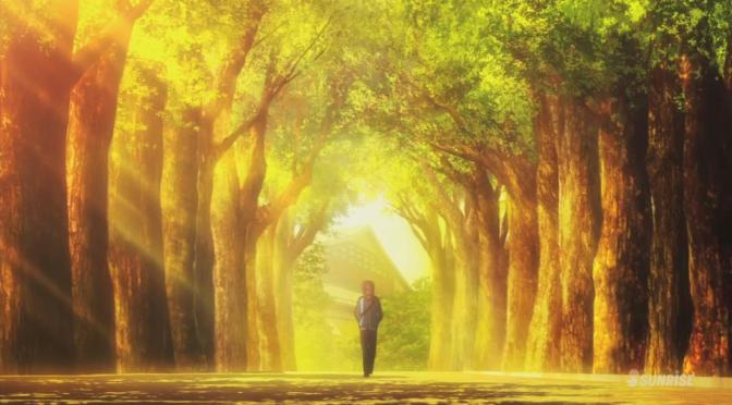 Gundam Build Fighters Try Yuuma Kousaka Walking Alone Sunset Golden Hour Trees Wooded Sidewalk