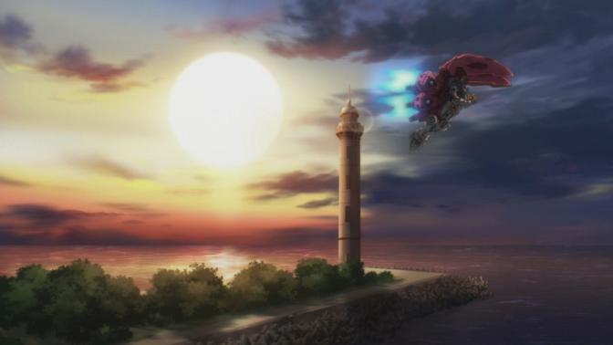 Gundam Reconguista in G Gundam G no Reconguista G-Self Tricky Backpack Sunset Flying Lighthouse Wallpaper