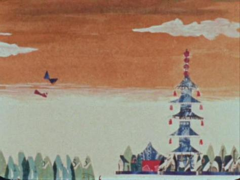 Stamp Fantasy Kitte no Gensou Yoji Kuri Pagoda Flying Birds Sunset