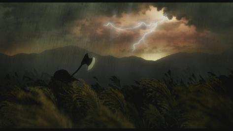 Asura Ashura Axe Rain Storm Field Plain Lightning Clouds