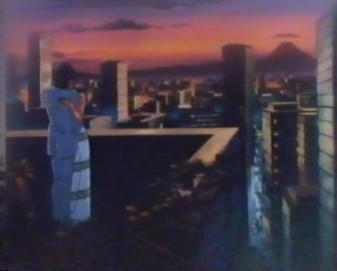 Future War 198X Future War 198X-nen Government Holiday Party Skyline Sunset Hug Embrace Balcony Wataru Mikumo Laura Gaine