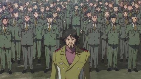 Gundam Reconguista in G Gundam G no Reconguista  Gusion Surugan Standing In Front Of Uniformed Amerian Military