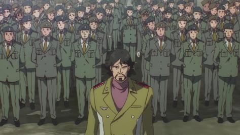 Gundam Reconguista in G Gundam G no Reconguista  Gusion Surugan Standing In Front Of Uniformed Amerian Military