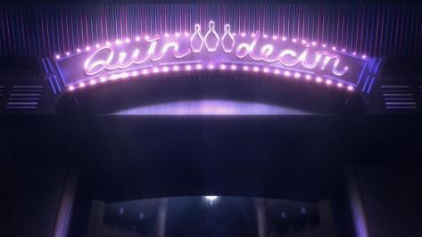 Death Parade Quindecim Bowling Pin Sign Neon Purple