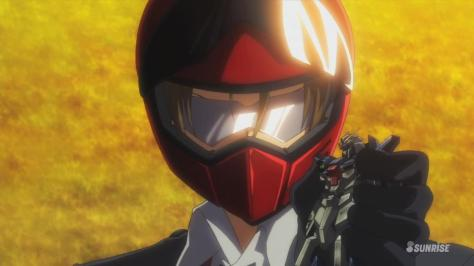 Gundam Build Fighters Try Tatsuya Yuuki Meijin Kawaguchi Motorcycle Helmet Glasses Damaged Lightning Gundam