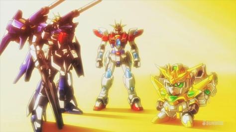 Gundam Build Fighters Try TBG-011B Try Burning Gundam Lightning Gundam Full Burnern Star Winning Gundam Group Shot