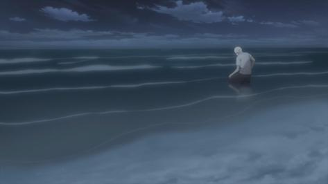 Mushishi Zoku-Shō Mushishi Next Passage Mushishi S2 Ginko Kneeling In The Ocean Night Waves Shore Beach