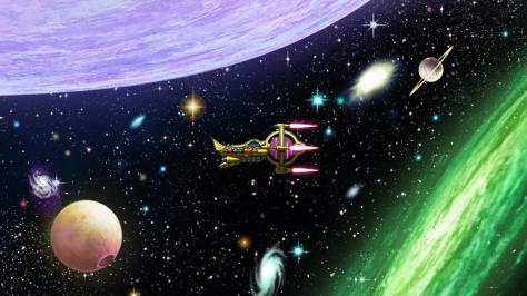 Space Dandy Aloha Oe Galaxy Space Stars Planets Moon Nebulas Spaceship