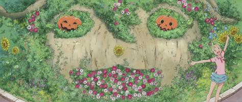 Magical Sisters Yoyo & Nene Majokko Shimai no Yoyo to Nene Yoyo Flower Patch Pumpkins Jack-o-lantern Arms Out Ta Da