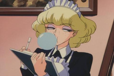 Suna no Bara Yuki no Mokushiroku Desert Rose Irene Sanders French Maid Uniform Blowing Bubblegum Annoyed Reaction Face