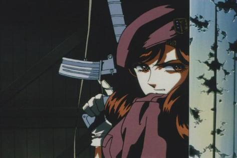 Suna no Bara Yuki no Mokushiroku Desert Rose Mariko Rosebank CAT Uniform Beret Assault Rifle Taking Cover Shootout