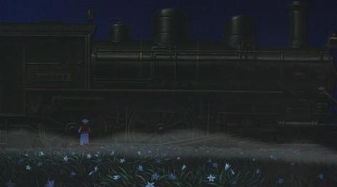 Night on the Galactic Railroad Ginga Tetsudou no Yoru Train Locomotive Giovanni Field of Blue Flowers Smoke