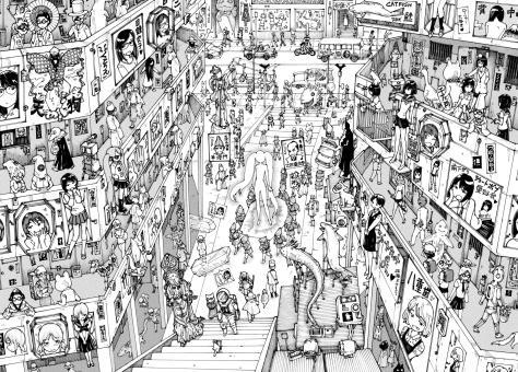 Parasyte Migii no Tabi Migi's Journey Riichi Ueshiba City Shopping District Surreal Fantasy