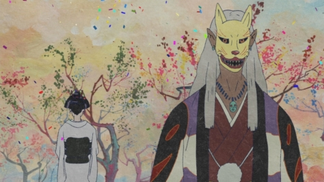 Mononoke Ochou Ocho Man In A Fox Mask Multicolor Rainbow Trees