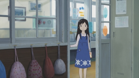 Wolf Children Ookami Kodomo no Ame to Yuki Classroom Blue Dress Sad Alone