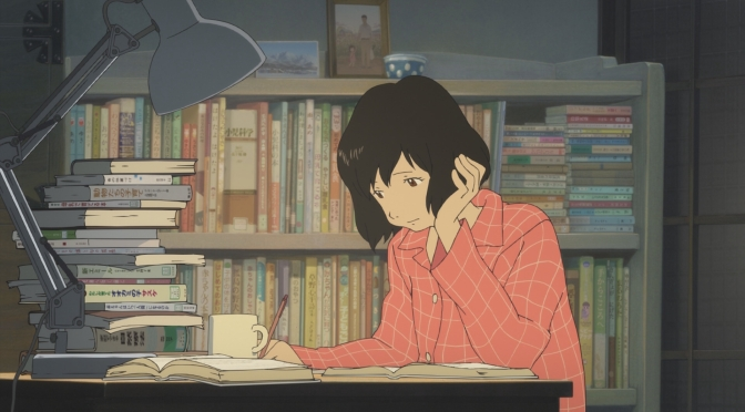 Wolf Children Ookami Kodomo no Ame to Yuki Hana Pajamas Books Reading Studying Tired Sleepy