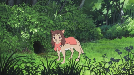 Wolf Children Ookami Kodomo no Ame to Yuki Wolf Form Yuki Red Shirt Forrest Hole