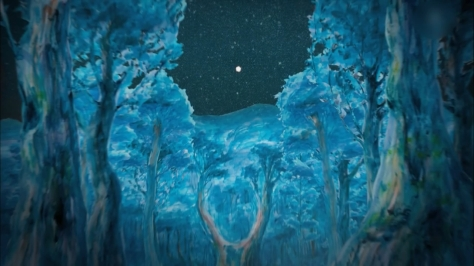 The Nighthawk Star Yodaka no Hoshi Ryu Kato Kenji Miyazawa Blue Night Forrest Trees Stars Sky