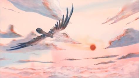 The Nighthawk Star Yodaka no Hoshi Ryu Kato Kenji Miyazawa Flying Towards The Sun Clouds Daylight Sunrise