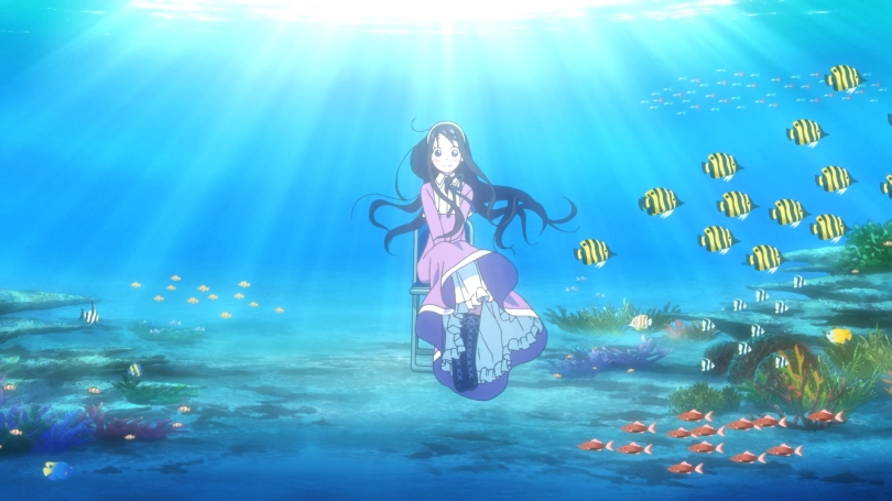 Amanchu Futaba Ooki Dotty Teko Floating Underwater Sitting In Folding Chair Smiling Eyes Open Fish Wallpaper Style