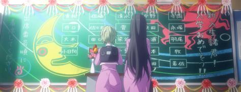 Amanchu Hikari Kohinata Pikari Futaba Ooki Dotty Teko Chalkboard High School Classroom Moon Seat Assignments