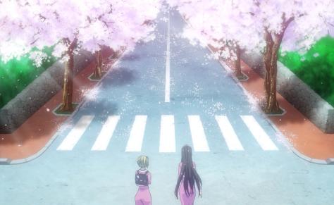 Amanchu Hikari Kohinata Pikari Futaba Ooki Dotty Teko Cherry Trees Sakura Road Tunnel