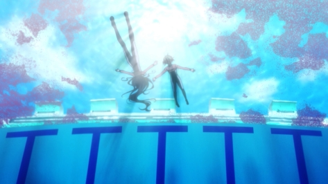 Amanchu Hikari Kohinata Pikari Futaba Ooki Dotty Teko Floating In School Pool Sakura Cherry Blossoms Underwater Shot