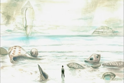 Bird's Song Tori no Uta Ga-nime Yoshitaka Amano Sea Shore Ocean Shells Water Landscape Surreal Young Man Sad Watercolor