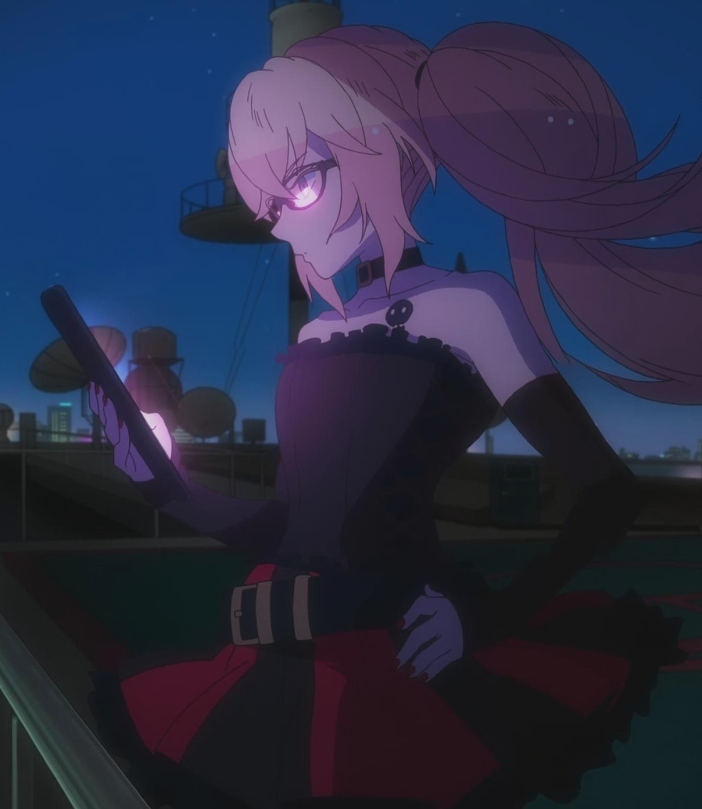 gatchaman-crowds-rui-ninomiya-rooftop-skirt-tablet-night