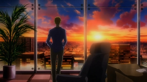 shion-no-oh-the-flowers-of-hard-blood-shions-king-satoru-hani-window-office-sunset-city