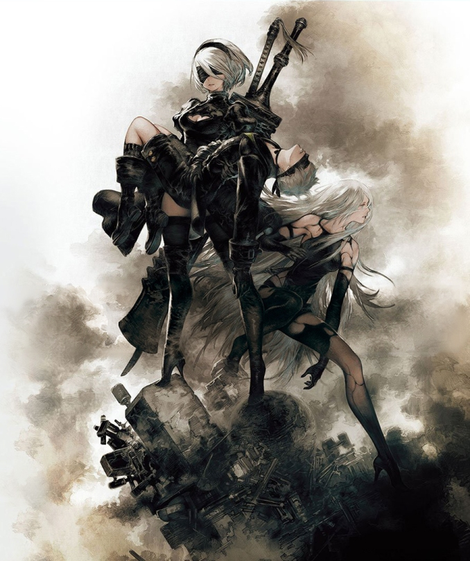 NieR Automata Cover Art Box Art Yorha Androids 2B 9S A2 Princess Carry Akihiko Yoshida Key Illustration