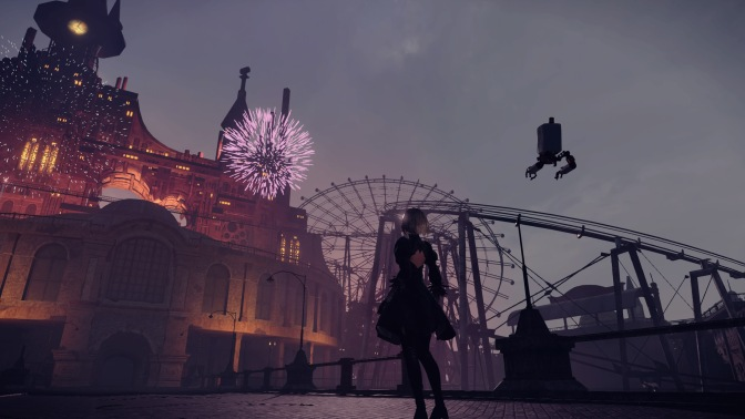 NieR Automata NieR Automata Yorha Android 2B Looking At Fireworks Display Amusement Park Magical Castle Roller Coaster Pod 042