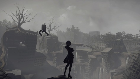 NieR Automata Yorha Android 2B Arms Crossed Idle Pose Destroyed Overgrown City Cave In Grey Skies
