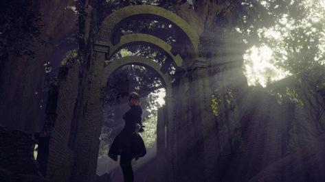 NieR Automata Yorha Android 2B Forrest Kingdom Castle Treasure Chamber Stone Arches