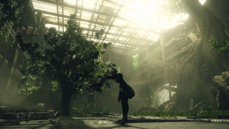 NieR Automata Yorha Android 2B Petting Pod 042 Overgrown Commercial District Shopping Mall Forrest Kingdom Sunlight Roof