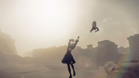 NieR Automata Yorha Android 2B Stretching Idle Pose Desert Housing District Rainbow Sun Sand Dunes Pod 042