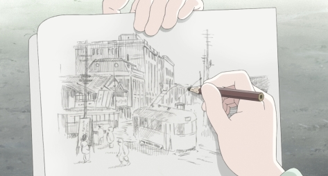In This Corner of the World Kono Sekai no Katasumi ni Suzu Drawing Sketching In Notebook Kure City Streets Electric Trolly Car