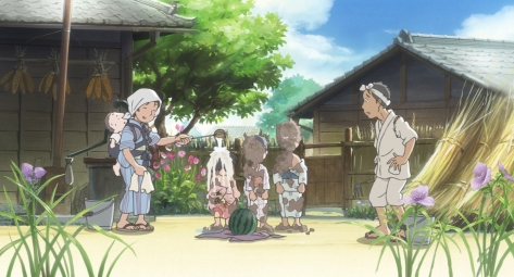 In This Corner of the World Kono Sekai no Katasumi ni Suzu Sumi Youchi As Kids Visiting Grandparents Having Mud Washed Off