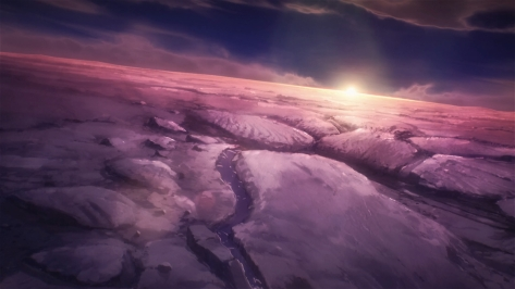 A Place Further Than The Universe Sora yori mo Tooi Basho Opening Credits Sunrise Antarctica Purple And Black Snowscape