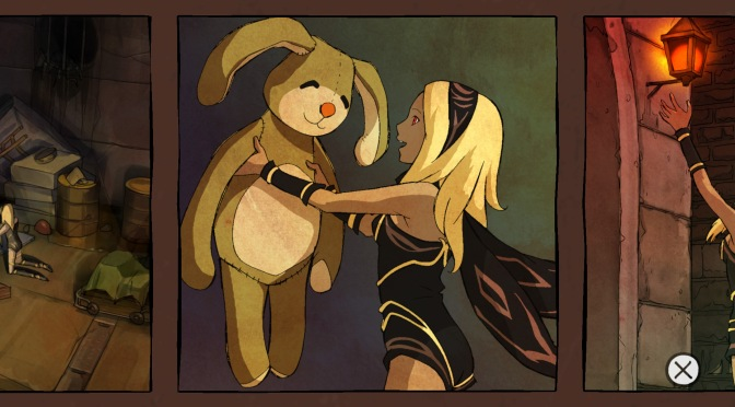 Gravity Rush Remastered Kat Gravity Shifter Finding A Giant Stuffed Plush Rabbit Bunny Toy Comic Panel Pipe House Discovery Cut Scene