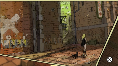 Gravity Rush Remastered Kat The Gravity Queen Shifter Dusty The Cat Walking Industrial City Streets Graffiti Political Posters Comic Panel Cut Scene