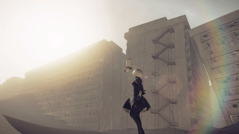 NieR Automata 2B Black Velvet Dress Pod Unit Desert Apartments Rainbow Staring Off Into The Sun
