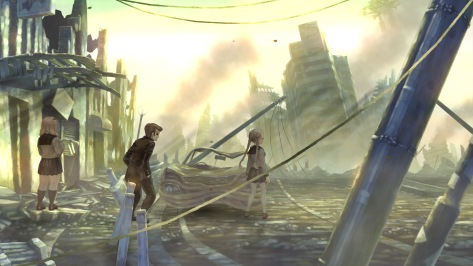 13 Sentinels Aegis Rim Nenji Ogata Tomi Kisaragi Overlooking Destroyed City Street