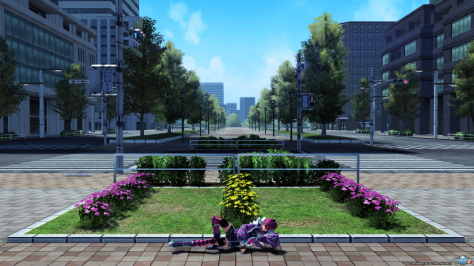 Phantasy Star Online 2 Tokyo Public Park With Flowser and Crosswalks Punk Girl Reclining On The Ground